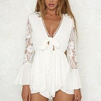 layla lace front tie romper with ruffle hem - white