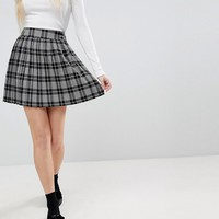 ASOS Tailored Pleated Pink and Black Check Mini Skirt at asos.com