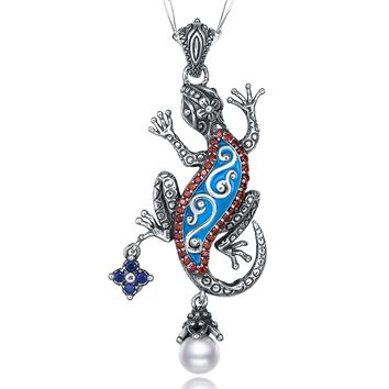 Merthus 925 Sterling Silver Gecko Lizard Charm Animal Pendant Necklace Jewelry for Women,18""
