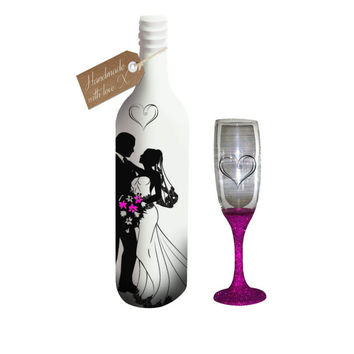 Hand painted Champagne glass & Wine bottle candle holder / vase...MADE TO ORDER.