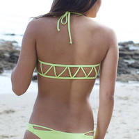 The Girl and The Water - Bettinis - Zig Zag Bikini Top / Lime - $75