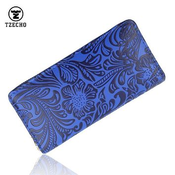 Zipper Around Womens Wallets PU Leather Prints Floral Long Ladies Money Purses Coin Pocket Card Holder Vintage Casual Clutch Bag
