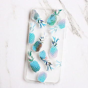 Clear Pineapple Print Case Cover for iPhone 7 iPhone 5s 5 SE 6 6S 6 Plus 6S Plus + Free Shipping + Gift Box