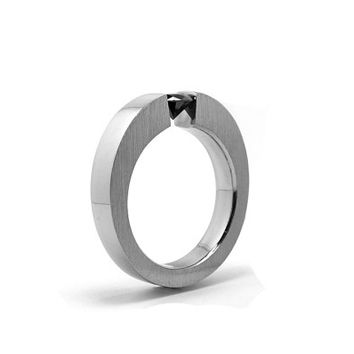 Mens Black Diamond Ring Tension Set Design Stainless Steel