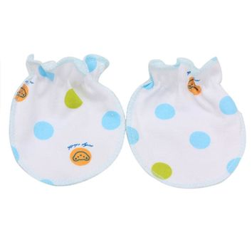 1Pairs Cute Dots Print Baby Infant Anti Scratch Mittens Soft Gloves Boys Girls Comfortable Cloth Gloves for Kids