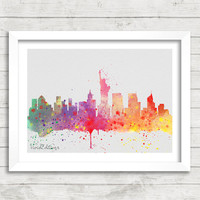New York City Skyline Watercolor Print, Statue of Liberty Cityscape Watercolor Art, Minimalist Home Decor, Not Framed, Buy 2 Get 1 Free!