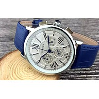 Cartier tide brand high-end simple personality wild quartz watch Blue