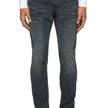 Diesel Deep Blue Faded And Distressed Tepphar Jeans
