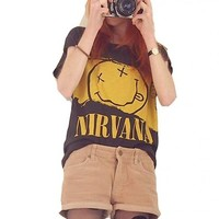 WIIPU womens Nirvana smiley letter printed T-shirt(J2-92)