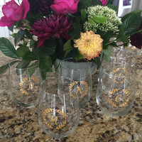 Set of 10 // Custom Initial Hand Painted Gold Wreath Stemless Wine Glass