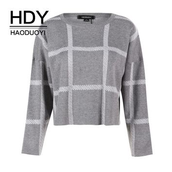 HDY Haoduoyi Women's Fashion Plaids Checkered O-Neck Long Sleeve Sweater Short Cropped Pullover Tops Casual Loose Jumper
