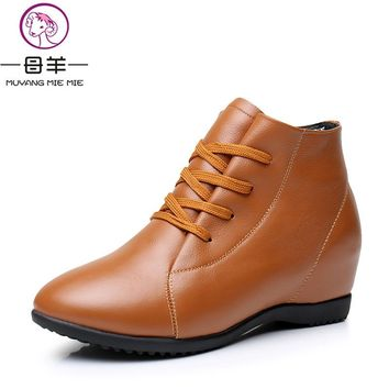 Plus Size 33-43 Winter Women Shoes Woman Genuine Leather Wedges Ankle Boots Casual Height Increasing Snow Boots Women Boots