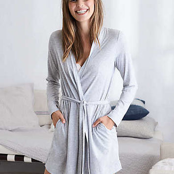 Aerie Softest Sleep Graphic Robe , Medium Heather