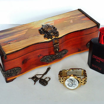 Natural wooden box ,Jewelry box, keepsake, decoupage and polymer clay details, 30'' - 4 1/4'' - 3 3/4''