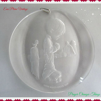 Precious Moments Christmas Tree Ornaments Jonathan David by Enesco 1982 Prayer Changes Things