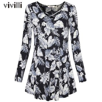 Tropical Leaves Print Long Sleeve T Shirt Women Cross V Neck Tee Shirt Femme Casual Loose Female T-shirt Top