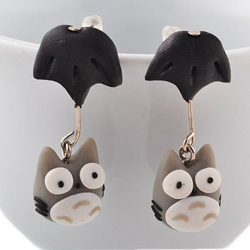 New Animal Handmade Polymer Clay 3D My Neighbor Totoro Earrings For Women Cute Cartoon Stud Earring Vintage Jewelry Brincos
