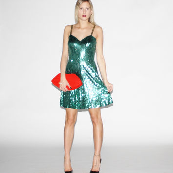 Vintage 1990s Emerald Green Sequin Party Dress