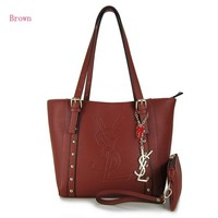 YSL Women Shopping Leather Chain Satchel Shoulder Bag Satchel Crossbody Brown G-MYJSY-BB