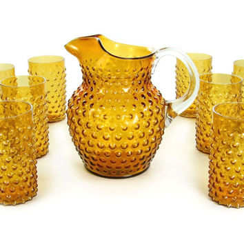 Vintage Amber Hobnail Pitcher and Glasses Set / Shabby Chic Home Decor / Fenton Glass