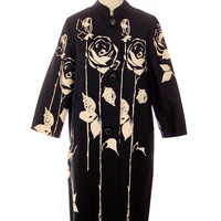 Vintage Spring Coat Black/ Off White Roses Graphic 1970s 47 Bust