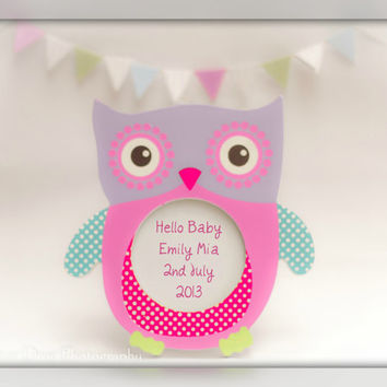 Pink Nursery Art, Unique Baby Gift, Owl Print, Personalized Baby Gift, New Baby Keepsake, Baby Girl Gift, New Baby Gift, Baby Keepsake