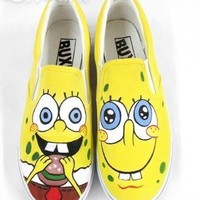 Spongebob hand painted canvas shoes  For Sale