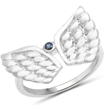 LoveHuang 0.04 Carats Genuine Blue Sapphire Angel Ring Solid .925 Sterling Silver With Rhodium Plating, Matte Finish