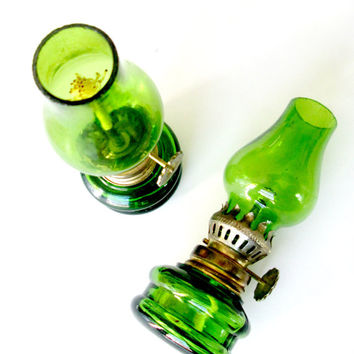 Green Glass Miniature Oil Lamps Set of 2 Rustic Cottage Home