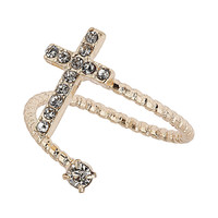 Swirl Rhinestone Cross Ring - Jewellery - Accessories - Topshop