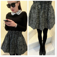 Vintage Tweed Elastic Waistband Black Bubble Mini Skirt