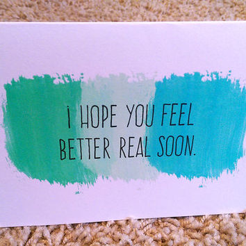 I Hope You Feel Better Real Soon Card, Get Well Soon Card,  5.5 X 4.25 Inch (A2), Mint Card, Cool Colors, Teal, Aqua, Cards for friends