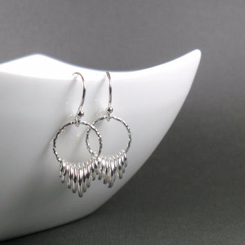 Small V-Shaped Graduated Drop Hoop Textured Earrings in Sterling Silver 925