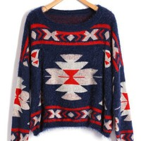 Navy Ethnic Style Print Cropped Sweater with Batwing Sleeves