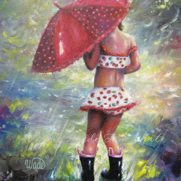 Rain Girl Art Print, Children's Wall Art, Girls Room, red umbrella, strawberry art, splashing, Vickie Wade art