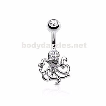 Crystal Paved Octopus Belly Button Navel Rings 316L surgical Steel 14ga