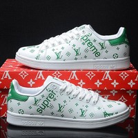 Best Online Sale LV x Supreme x Adidas Originals Customise Stan Smith Green White Casual Shoes