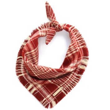 Burgundy Plaid flannel dog bandana