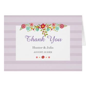 Floral Purple Stripes Thank You Note Card