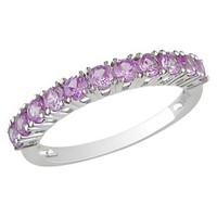 1 carat Created Pink Sapphire Ring in Sterling Silver