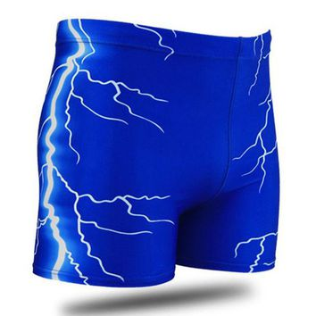 DCCK7N3 Men Male Lightning Print Swimming Trunks Briefs Boxer Shorts Bathing Suit Swimwear Swimsuit Swim Pants Beach Swim Wear Plus Size