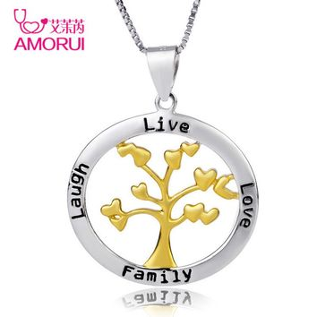 "Christmas Gift Tree of Life 2017 Trendy Silver Collier Femme Chain Choker Necklace Women ""Live Love Family Laugh"" Jewelry Mujer"