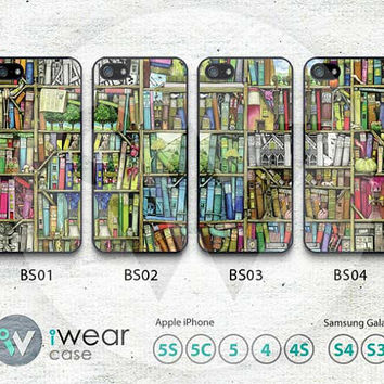iphone 4 case,iphone 4s case - bookshelf book library - plastic iphone case - classic vintage newpaper books for personalized iphone  case