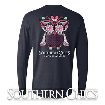 SALE Southern Chics Charming Comfort Colors Preppy Owl Bow Girlie Long Sleeve Bright T Shirt