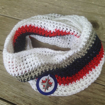 Crochet Blue, Silver, Red and White Scarf, Winnipeg Jets Scarf, NHL, Hockey, Team Scarf, Jets Infinity Scarf, Winnipeg Jets Logo, Unisex