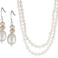 Sterling Silver Multi-Colored Freshwater Pearl Necklace and Hook Earrings Set, 40"