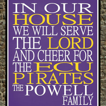 Customized Name East Carolina - ECU Pirates - personalized family print poster Christian gift sports wall art - multiple sizes