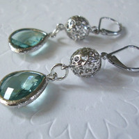 Dangle earrings  Drop Sterling silver leverback earrings with Silver framed light blue green glass, Bridesmaid gifts
