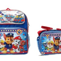 "Nickelodeon Paw Patrol PP 12"" Small Blue School Backpack w/Lunch Bag Set"
