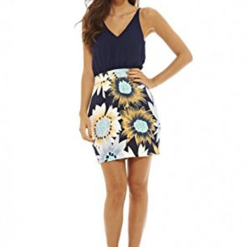 Navy Sleeveless Top and Floral Print Skirt 2 in 1 Dress